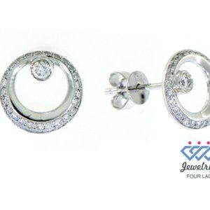 Natural Round Diamond Stud Earrings 14K White Gold